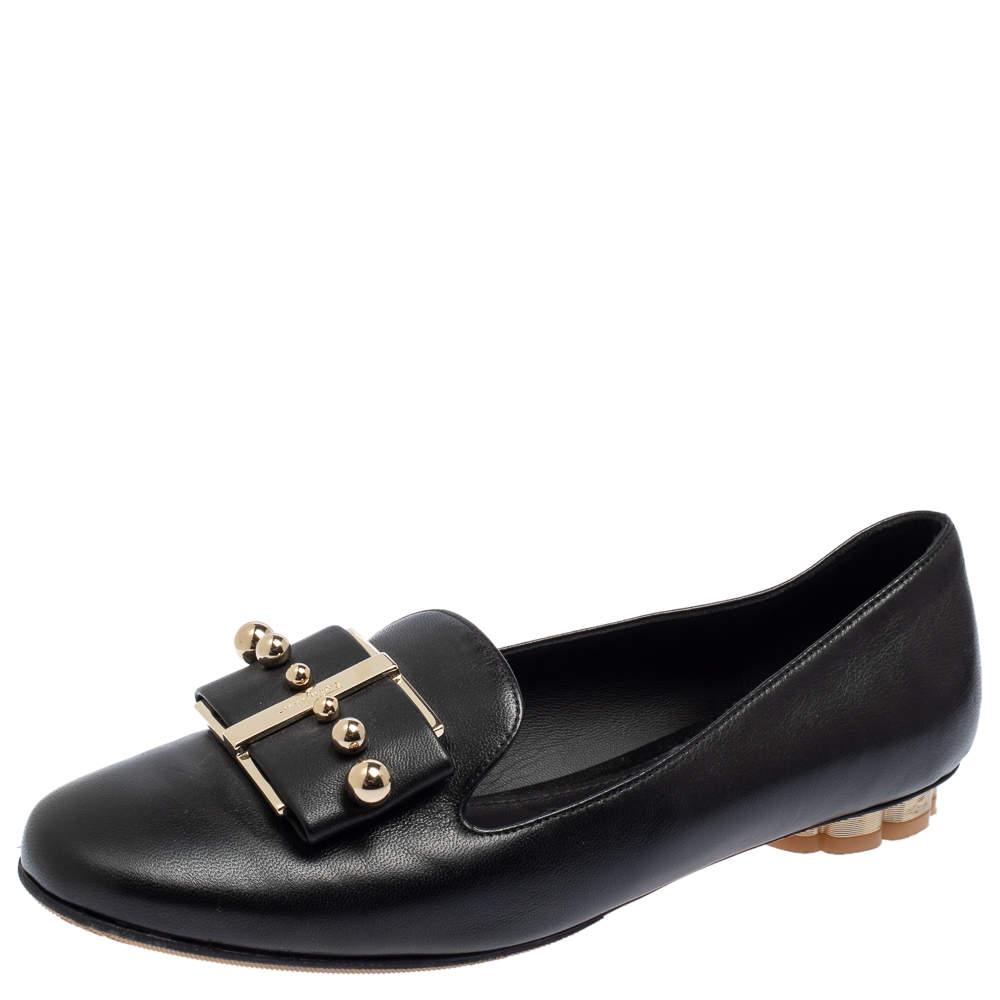 Salvatore Ferragamo Black Leather Sarno Pearl Flats Size 36