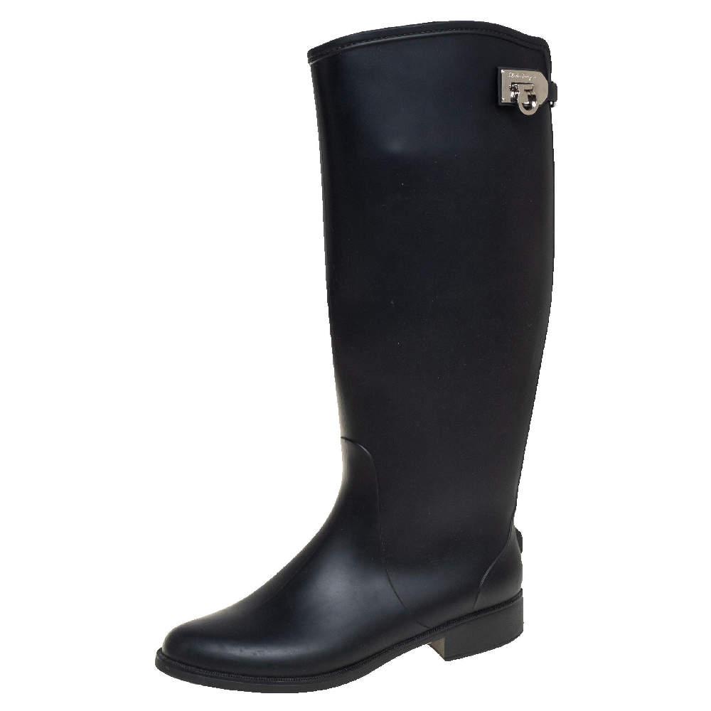 Salvatore Ferragamo Black Rubber Rain Boots Size 39.5