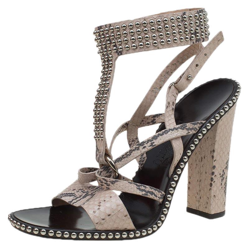 Salvatore Ferragamo Beige Python Sienna Studded Ankle Strap Sandals Size 41