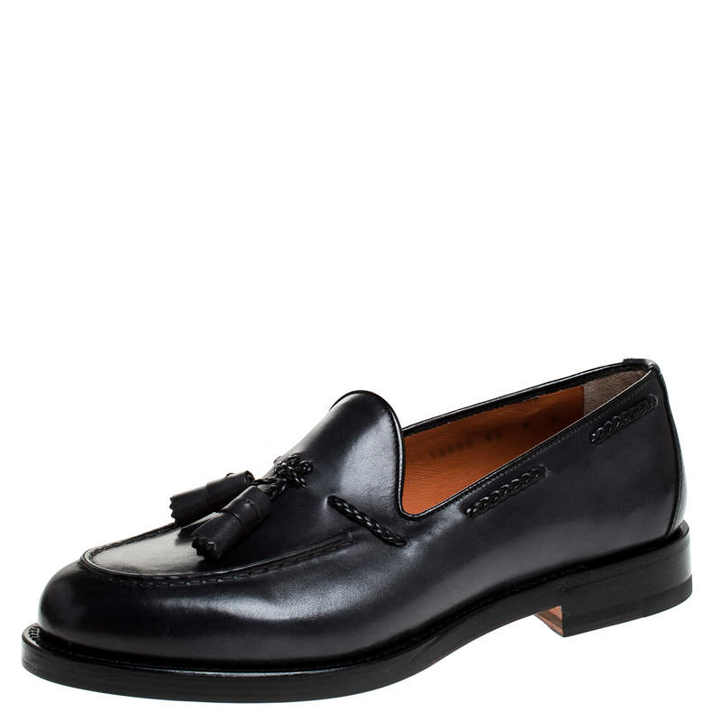 Santoni Grey Leather Tassel Detail Slip On Loafers Size 43