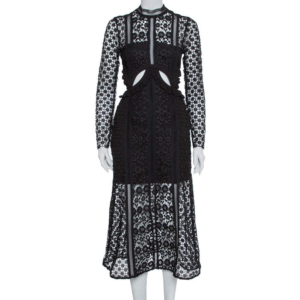 Self-Portrait Black Guipure Lace Payne Cutout Midi Dress S