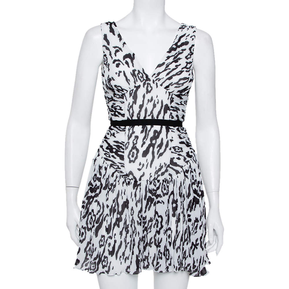 Self-Portrait Monochrome Leopard Printed Plisse Chiffon Sleeveless Mini Dress S