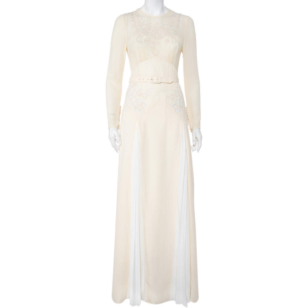 Self Portrait Cream Embroidered Crepe Contrast Paneled Belted Maxi Dress S