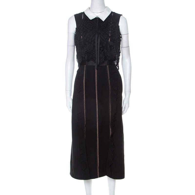 Self Portrait Black Lace Paneled Peter-pan Collar Midi Dress M