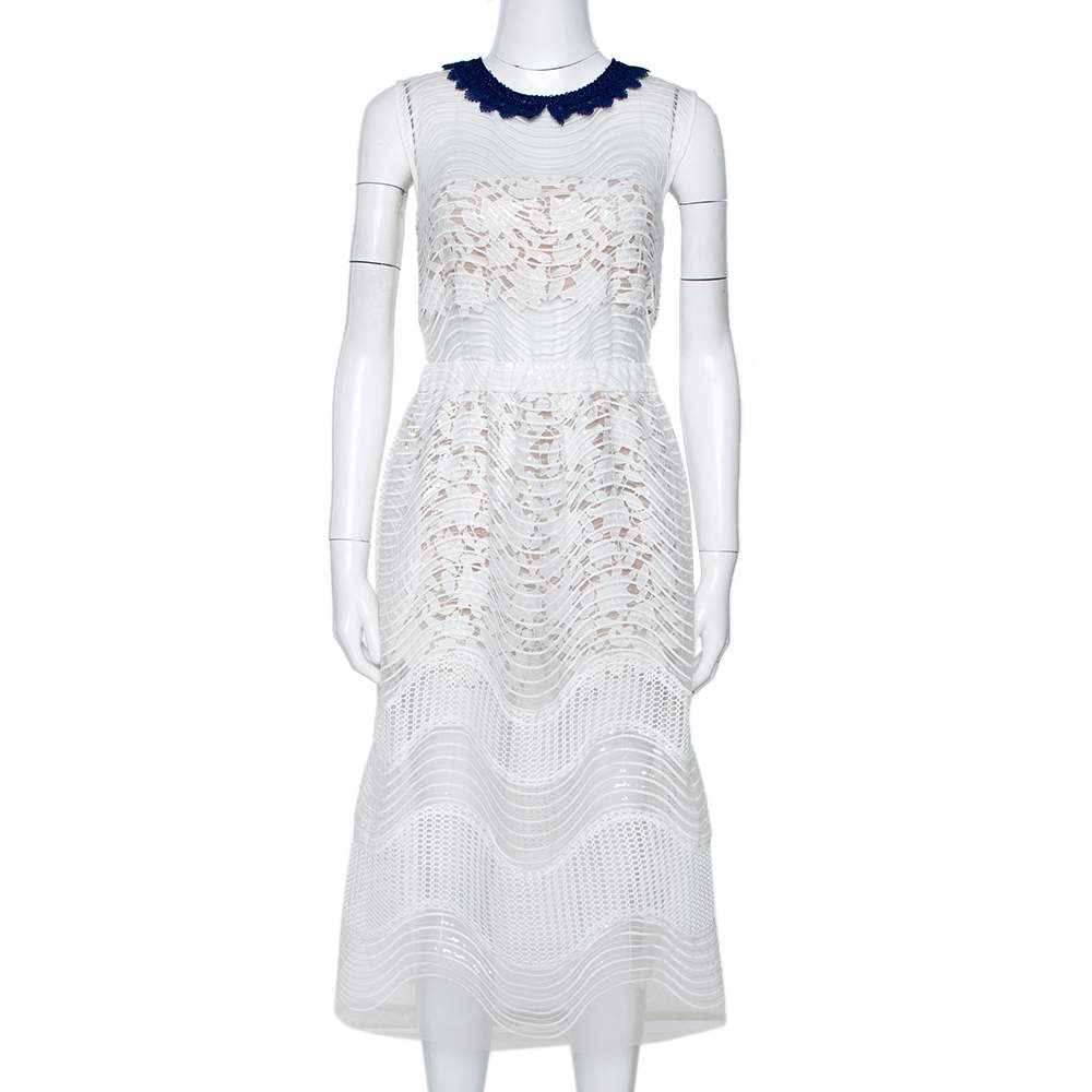 Self Portrait White Sequined Mesh Romper Detail Dress M