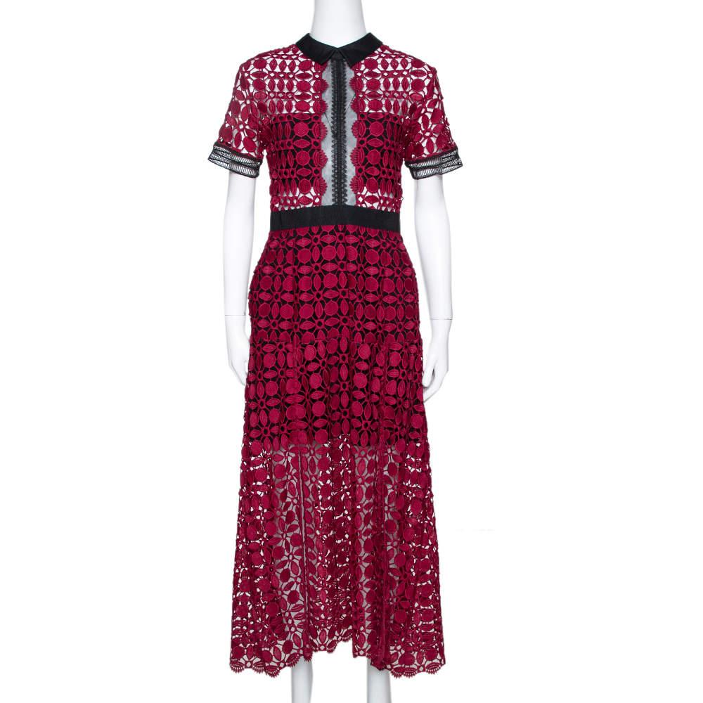Self Portrait Burgundy Guipure Lace Contrast Trim Midi Dress M