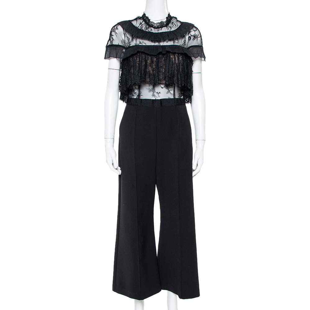 Self Portrait Black Cady & Lace Ruffled Cropped Jumpsuit M