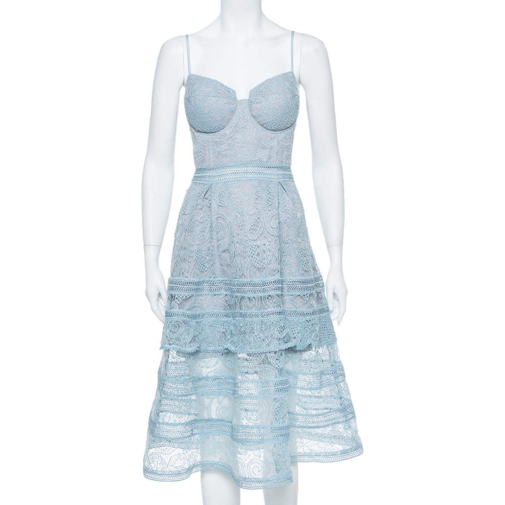 Self-Portrait Ice Blue Paisley Lace Tiered Midi Dress M