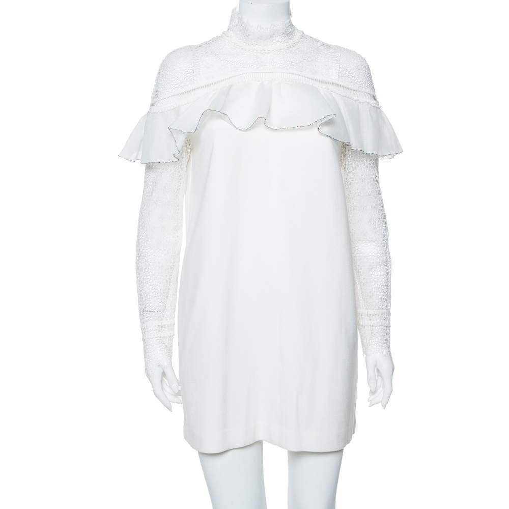Self Portrait White Lace & Knit Pleated Detail Military Cape Dress M