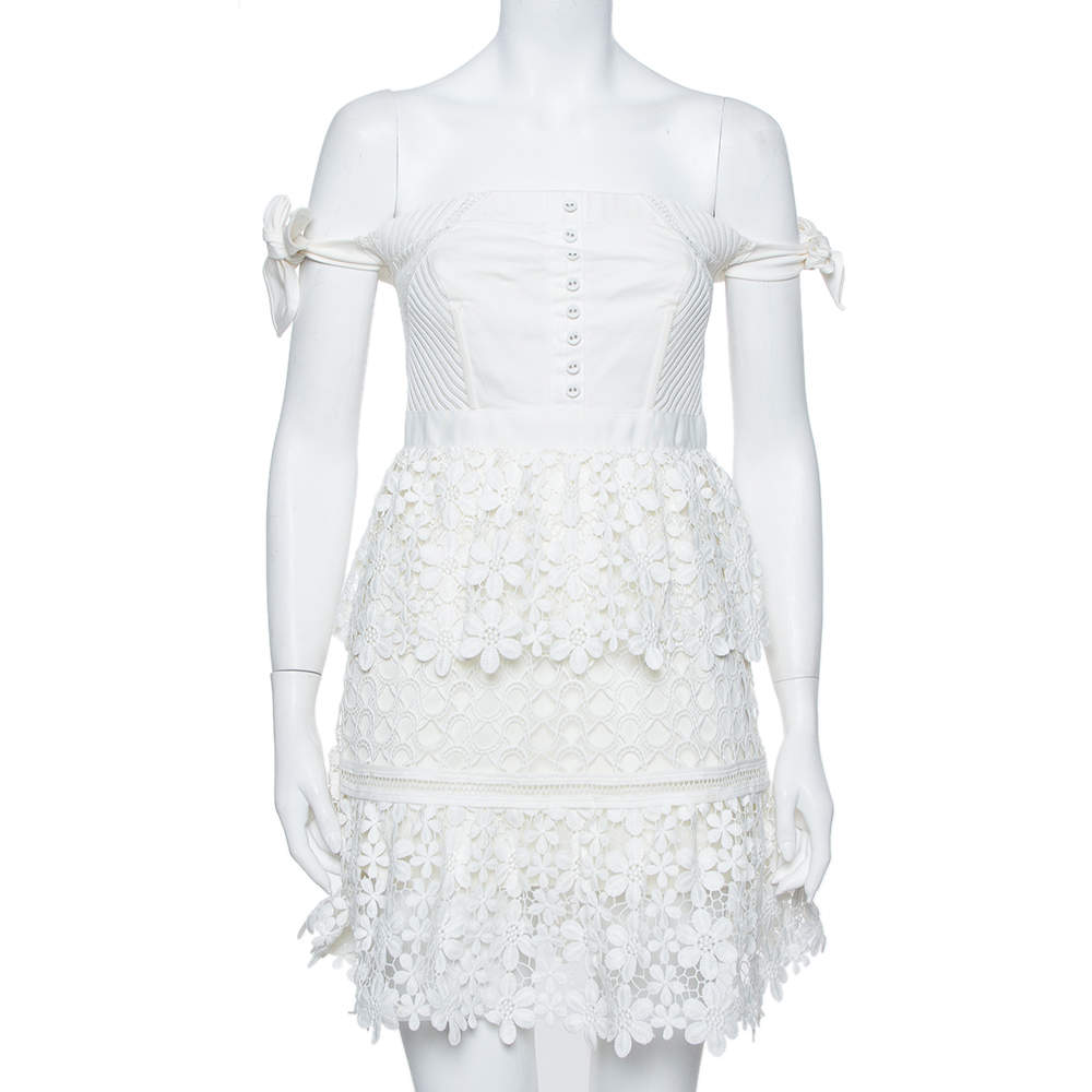 Self Portrait White Lace Tiered Off Shoulder Mini Dress M