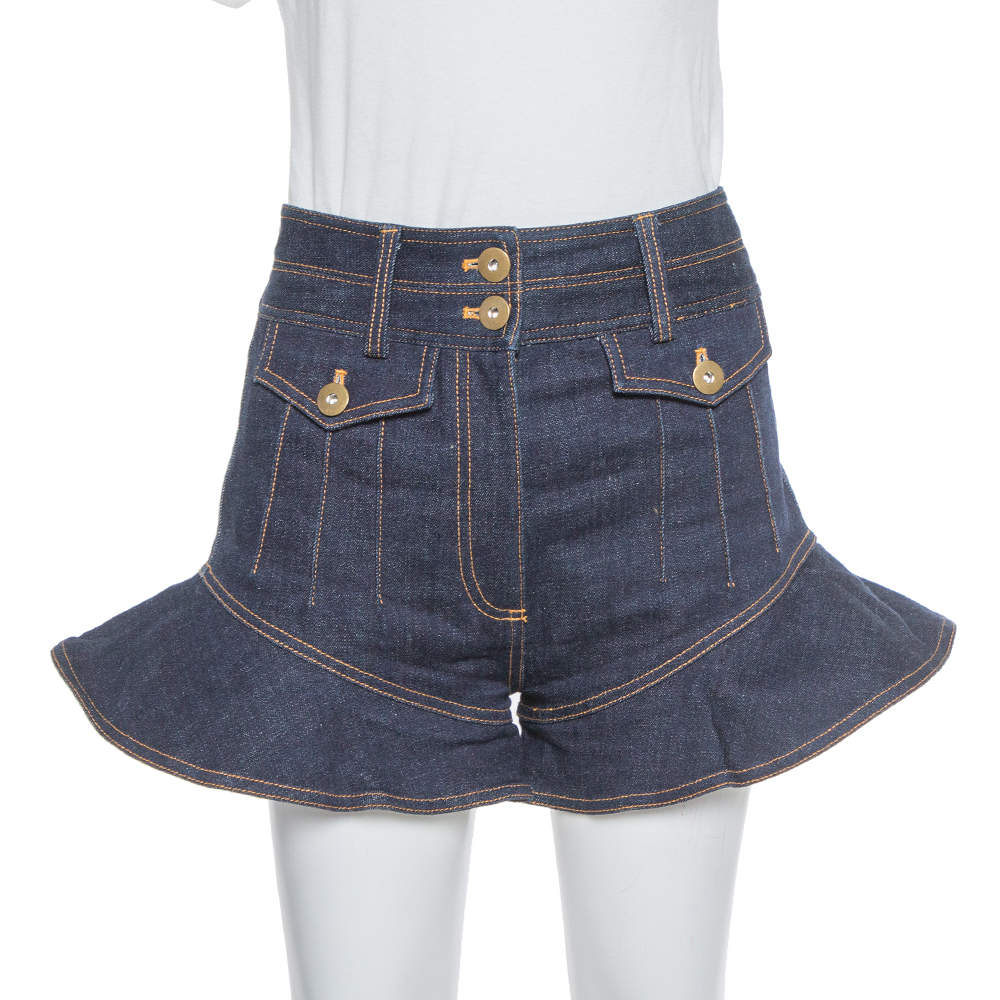 Self Portrait Navy Blue Denim High Waist Flounced Shorts S
