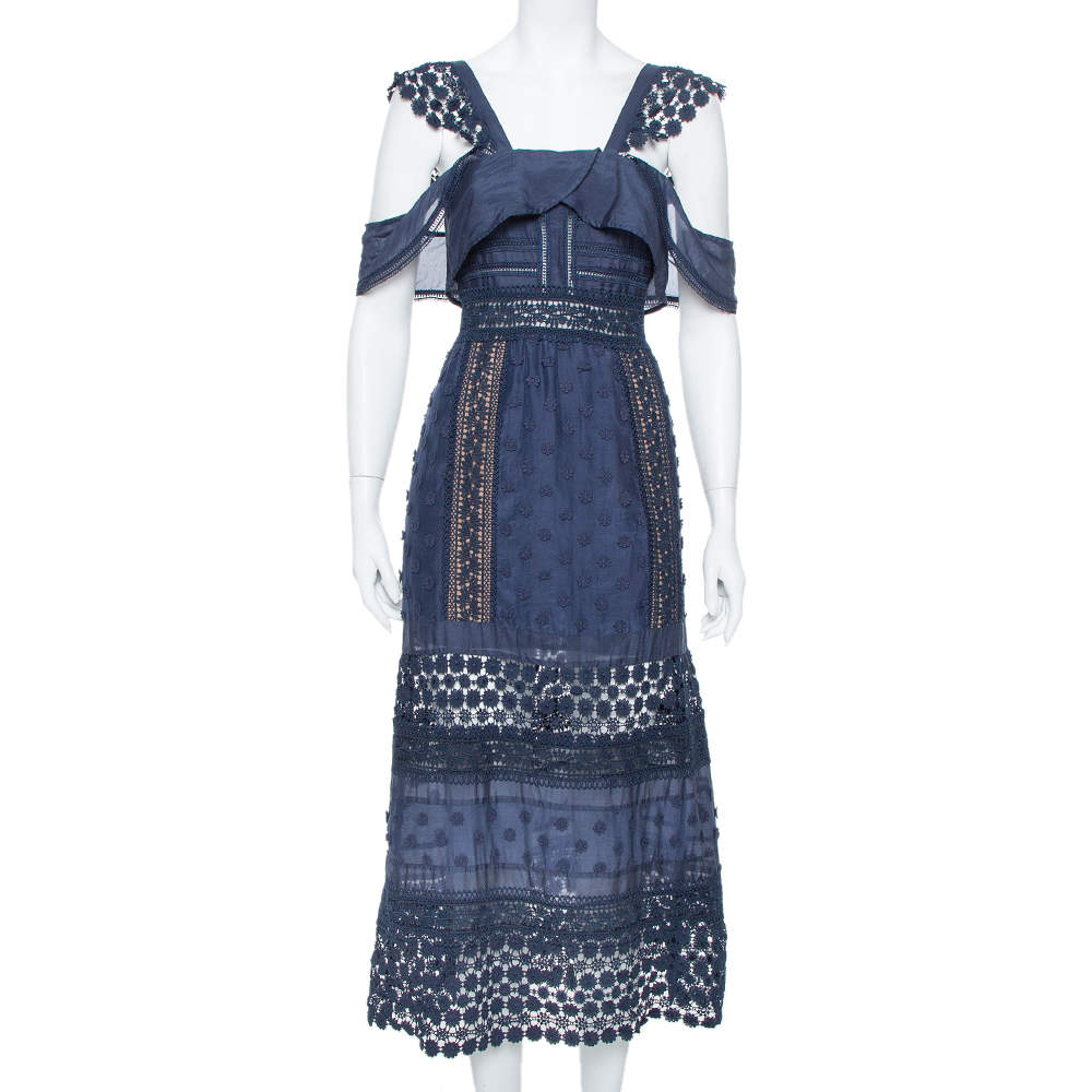 Self-Portrait Navy Blue Lace Paneled Bluebell Midi Dress M