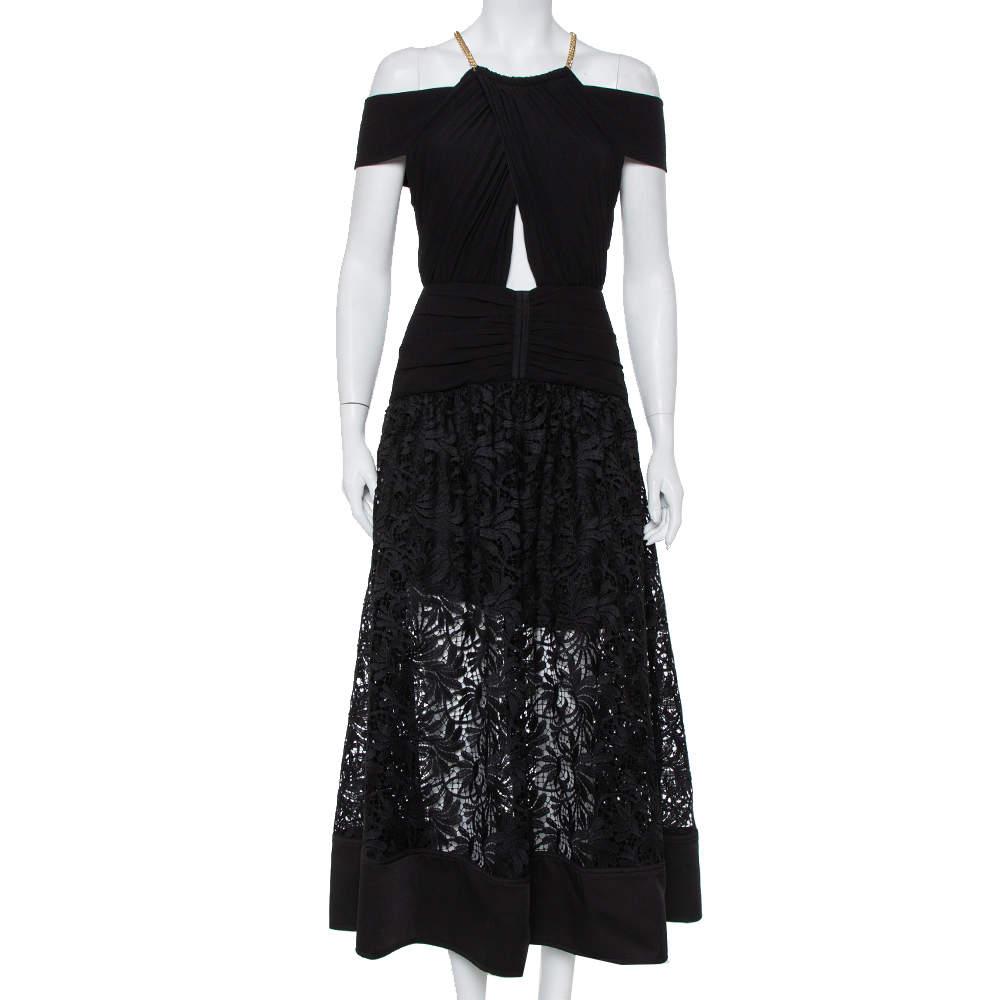 Self Portrait Black Crepe & Lace Chain Neck Detail Cold Shoulder Midi Dress M
