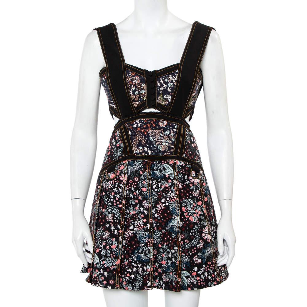 Self Portrait Black Floral Jacquard Cut Out Detail Sleeveless Mini Dress S
