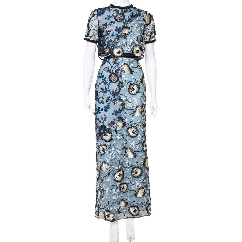 Self Portrait Blue Floral Embroidered Layered Florentine Maxi Dress S
