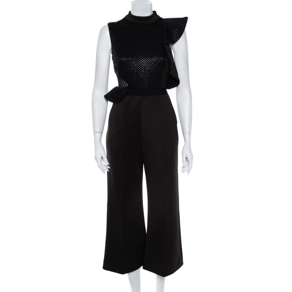 Self-Portrait Black Sequin & Bead Embellished Knit Sleeveless Cropped Jumpsuit S