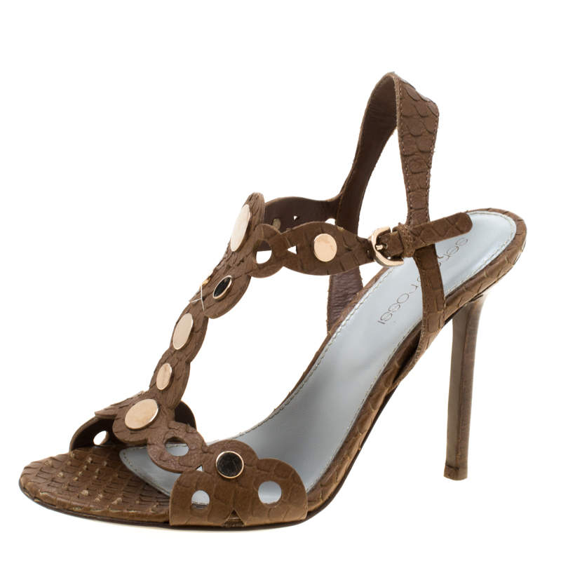 Sergio Rossi Brown Python Studded T Strap Sandals Size 36.5
