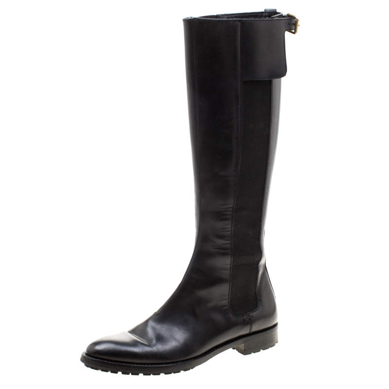 Sergio Rossi Black Leather And Elastic Detail Knee Length Boots Size 37