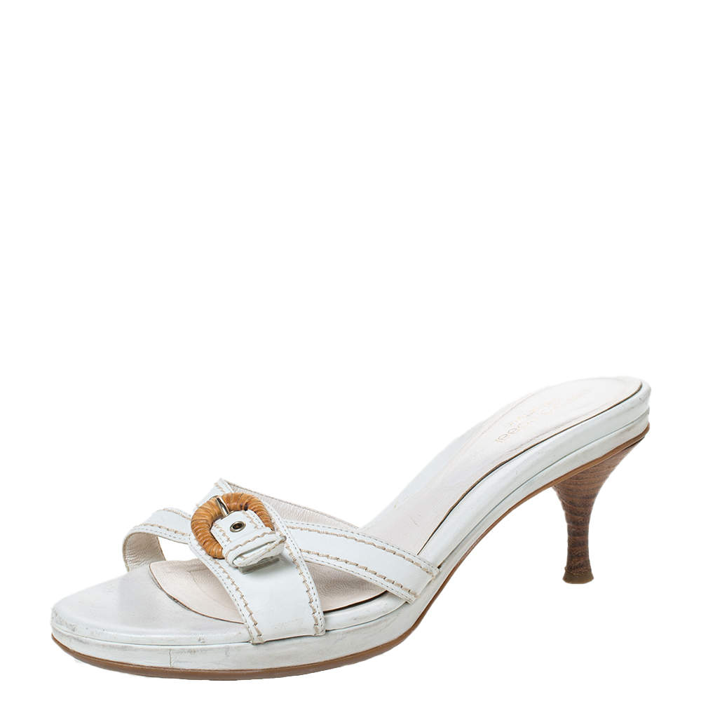 Sergio Rossi White Leather Buckle Detail Platform Slide Sandals Size 39.5