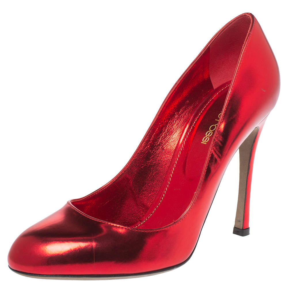 Sergio Rossi Red Metallic Leather Round Toe Pumps Size 39