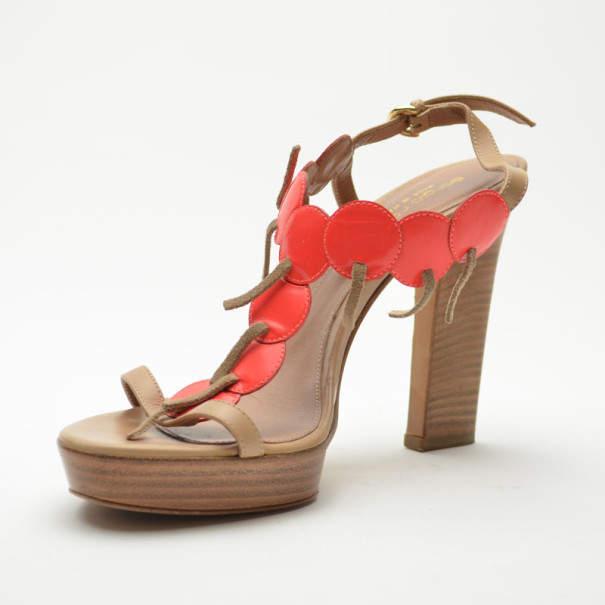 Sergio Rossi Cherry Platform Sandals Size 38.5