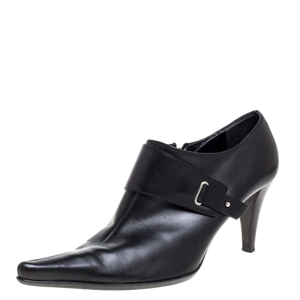 Sergio Rossi Black Leather Pointed Toe Booties Size 41
