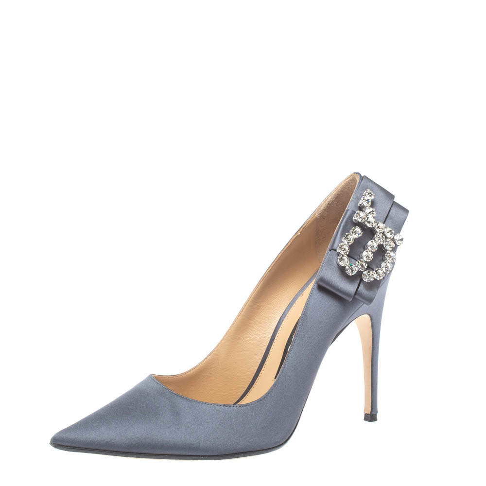 Sergio Rossi Grey Satin Icona Embellished Pointed Toe Pumps Size 39