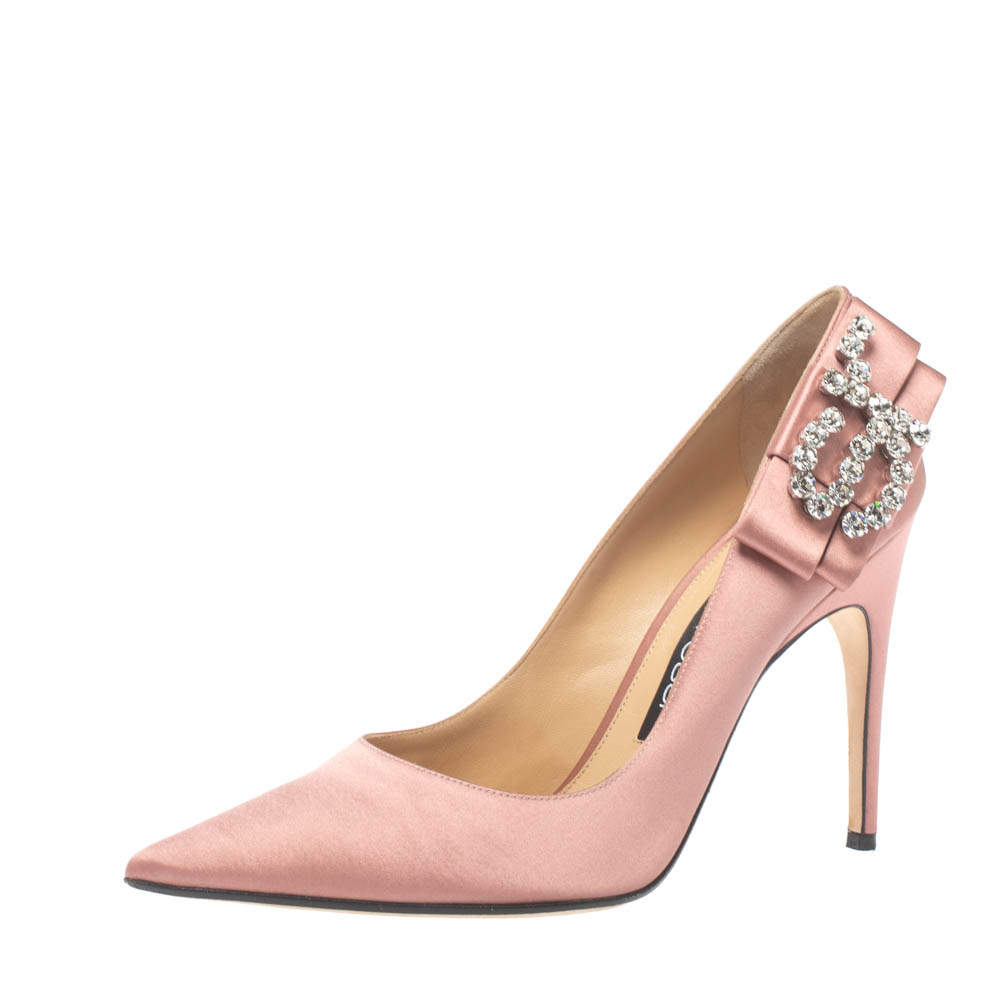 Sergio Rossi Pink Satin Icona Embellished Pointed Toe Pumps Size 39