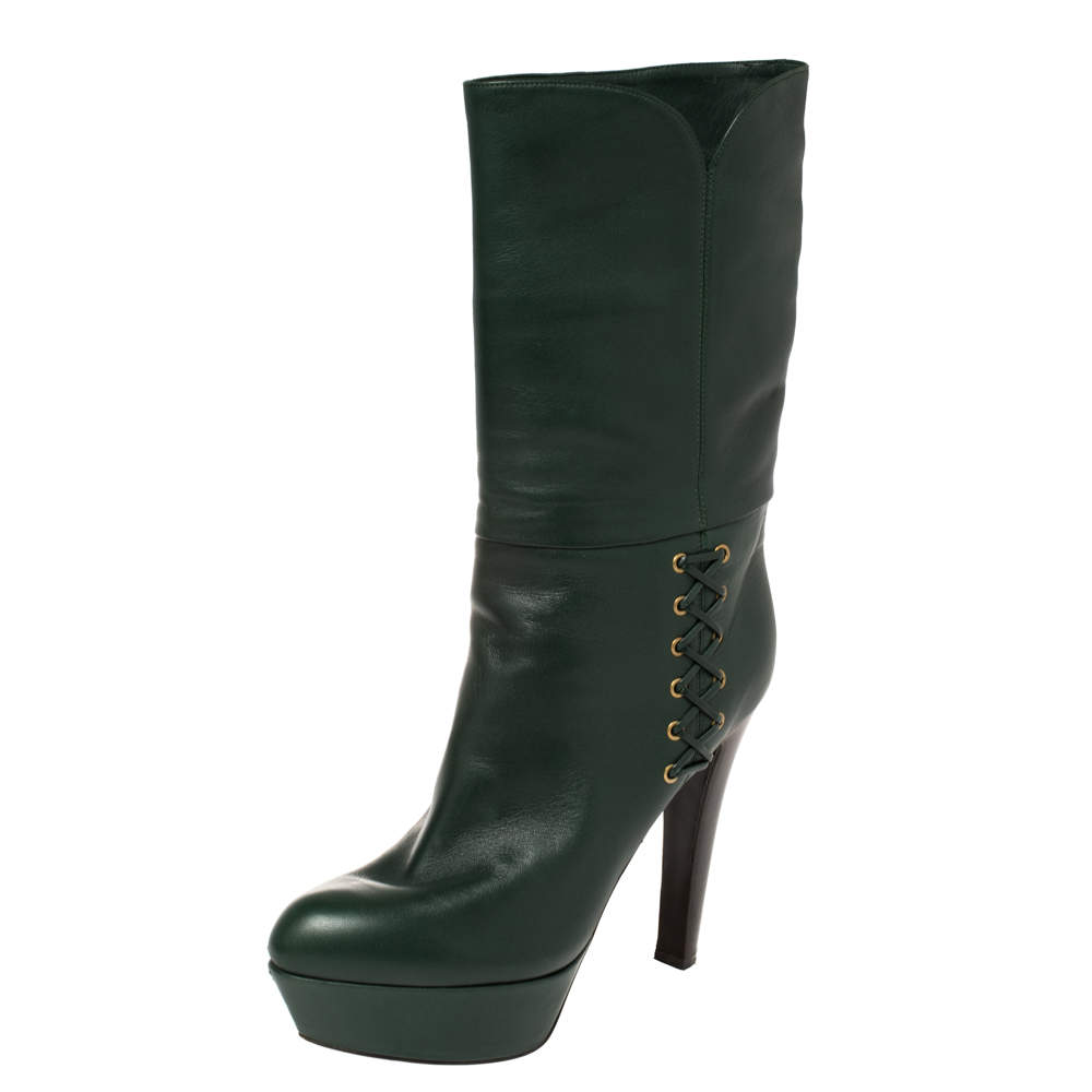 Sergio Rossi Green Leather Mid Calf Platform Boots Size 38.5