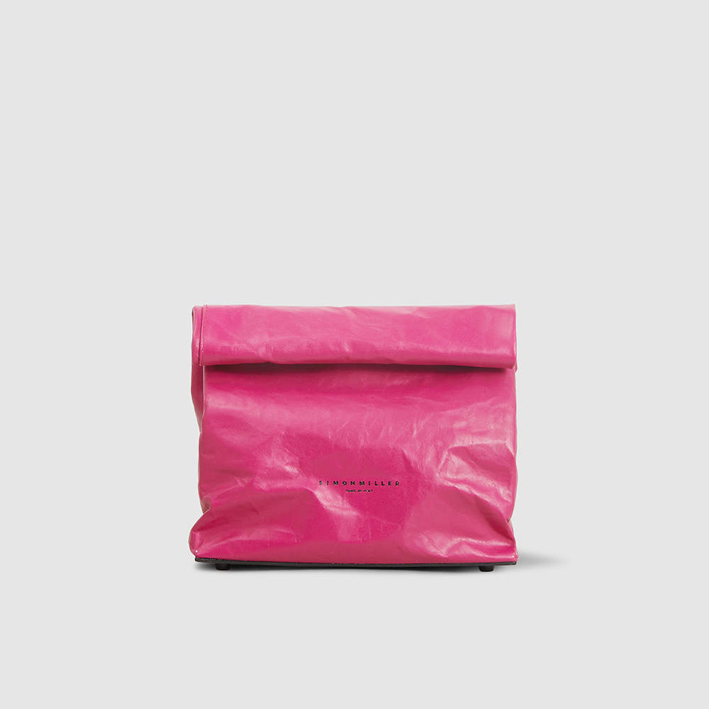 Simon Miller Pink/Black Leather Small Lunch Bag Clutch