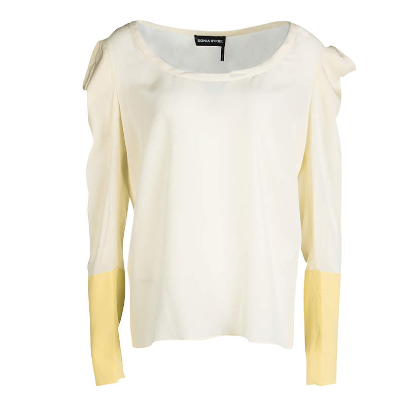 Sonia Rykiel Cream Silk Contrast Cuff Detail Long Sleeve Blouse L
