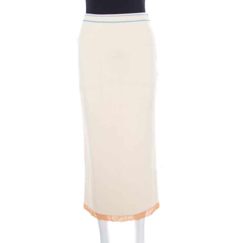 Sonia Rykiel Cream Knit Contrast Hem Detail Midi Skirt S