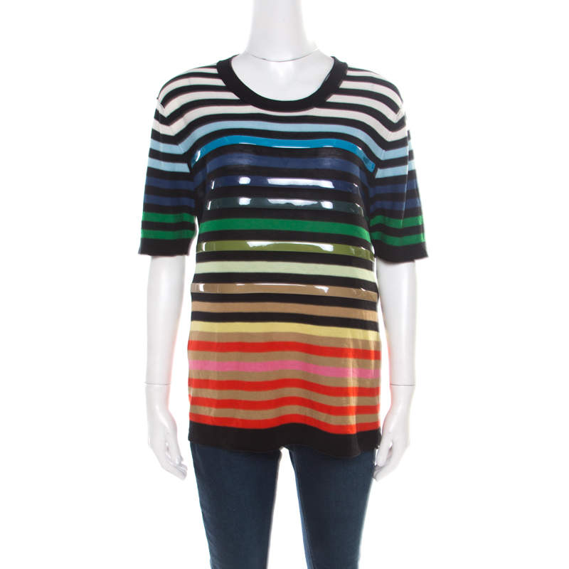 Sonia Rykiel Multicolor Striped Cotton and Silk Vinyl Strip Detail Top M