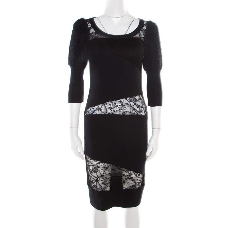 Sonia Rykiel Green and Black Lace Paneled Textured Sleeve Detail Sheath Dress S