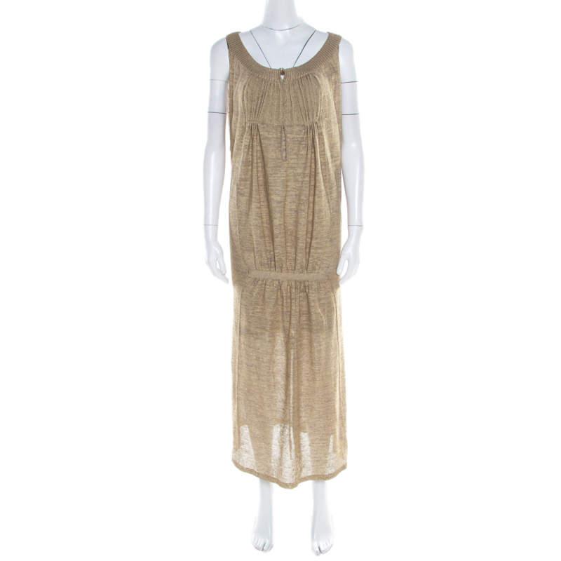 Sonia Rykiel Beige Perforated Lurex Knit Maxi Dress L