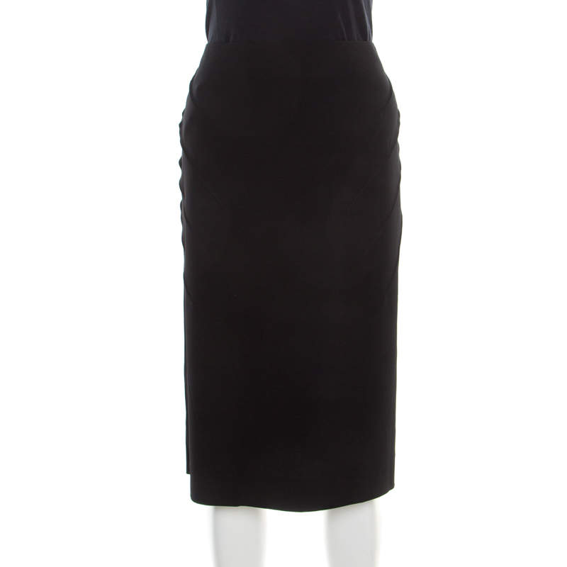 Sonia Rykiel Black Diagonal Pintuck Detail Pencil Skirt XL