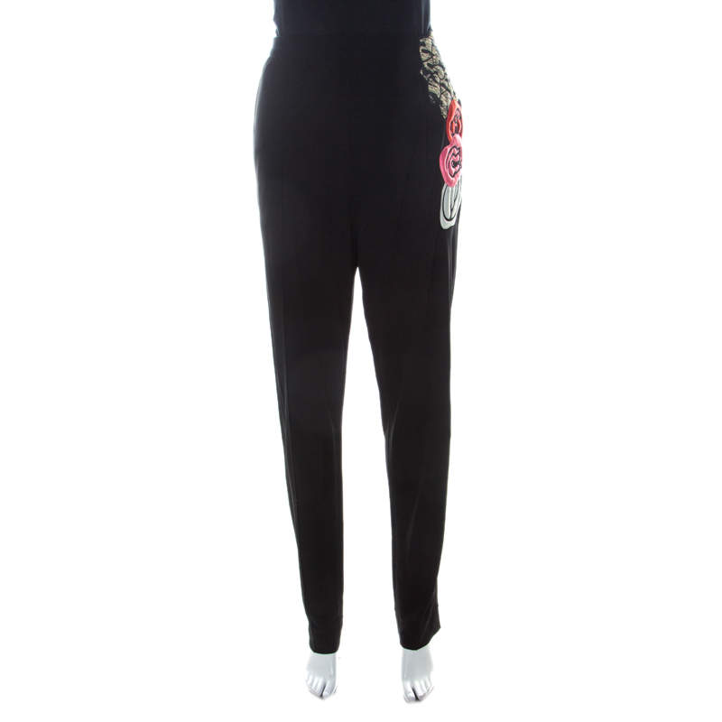Sonia Rykiel Black Jersey Floral Applique Fitted Pants L