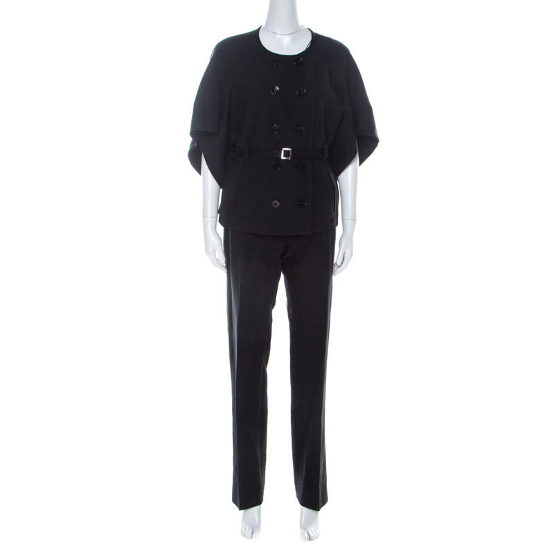 Sonia Rykiel Black Cotton Belted Pant Suit L