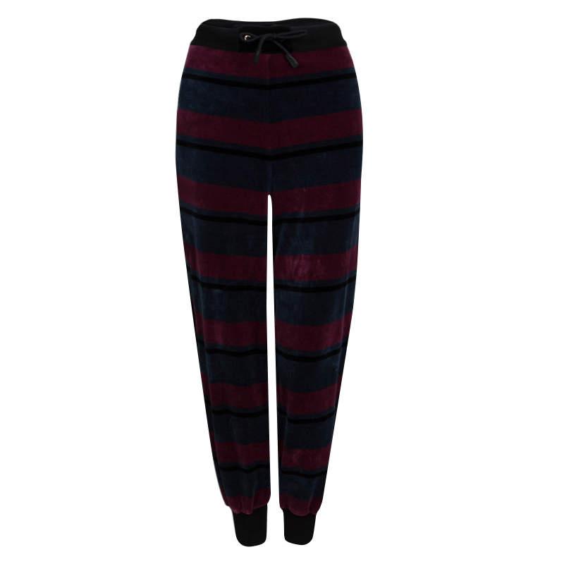Sonia Rykiel Multicolor Striped Velvet Jogger Pants XL