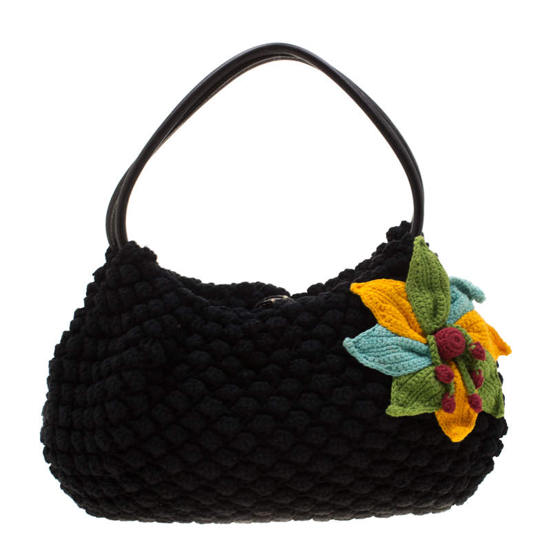 Sonia Rykiel Multicolor Floral Crochet Hobo