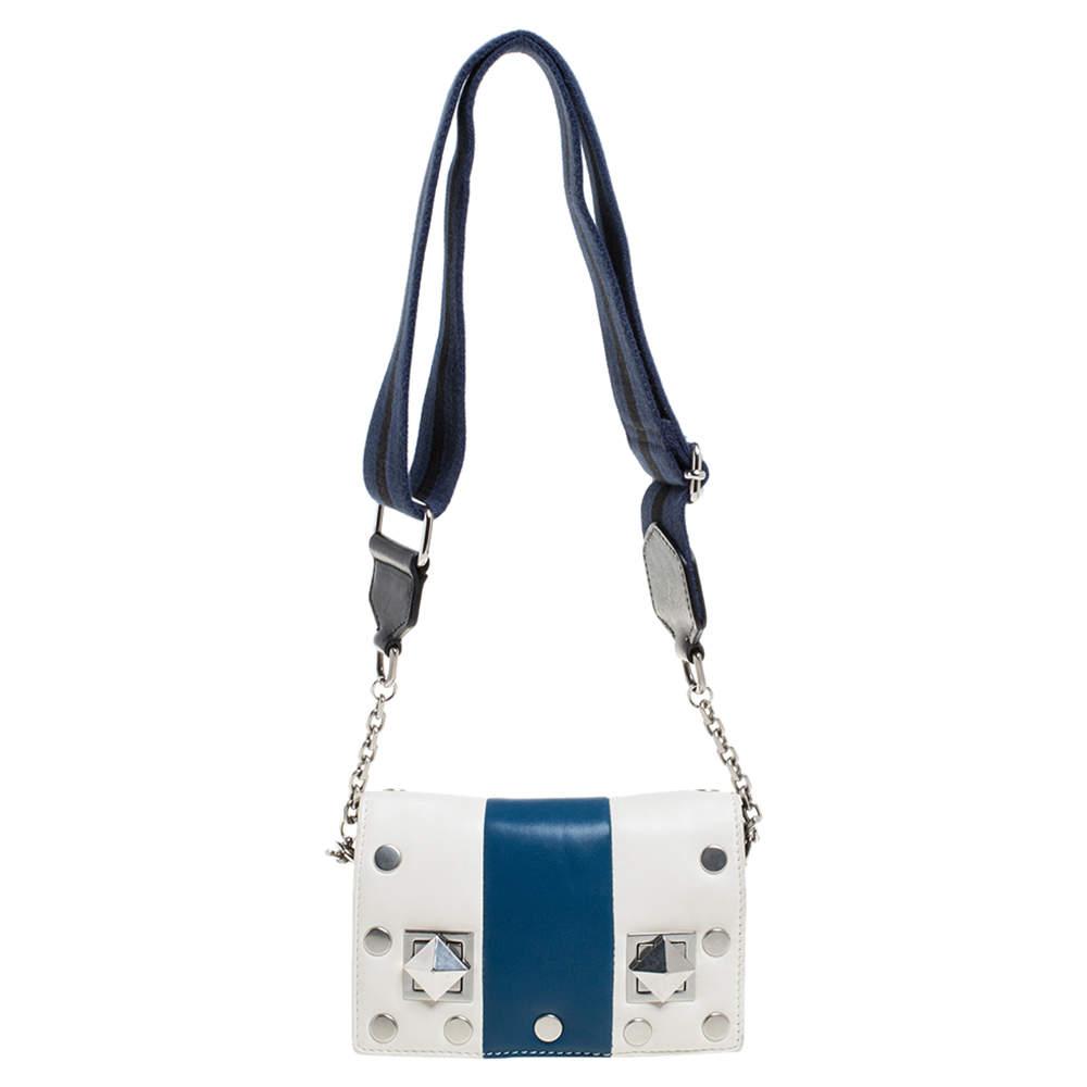 Sonia Rykiel White/Blue Leather Studded Flap Crossbody Bag