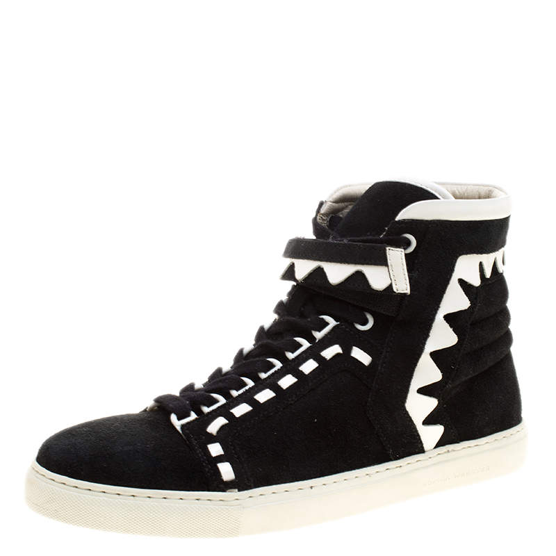 Sophia Webster Monochrome Suede and Leather Riko High Top Sneakers Size 41