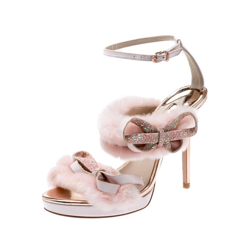 Sophia Webster Pink Faux Fur And Leather Bella Bow Embellished Ankle Strap Sandals Size 39