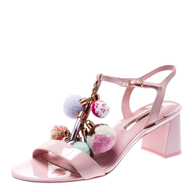 Sophia Webster Light Pink Patent Leather Jada T Strap Pom Pom Sandals Size 41