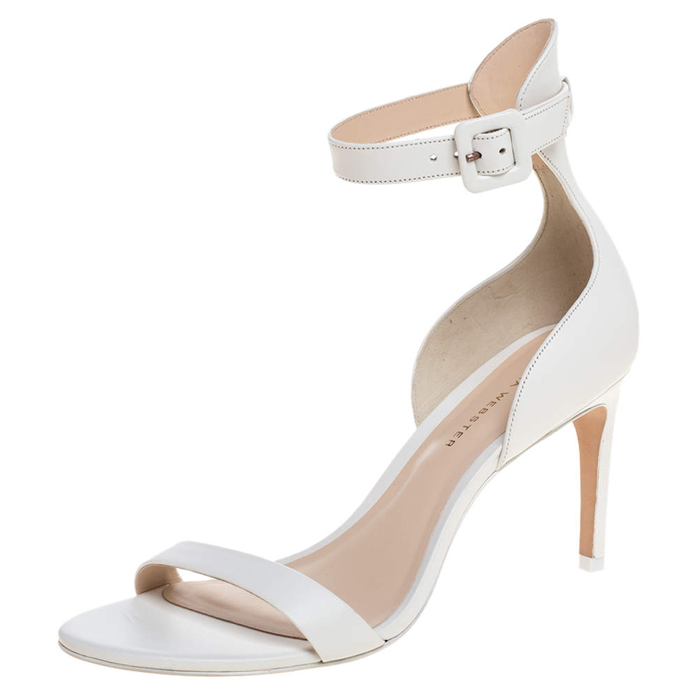 Sophia Webster White Leather Nicole Ankle Cuff Sandals Size 37.5