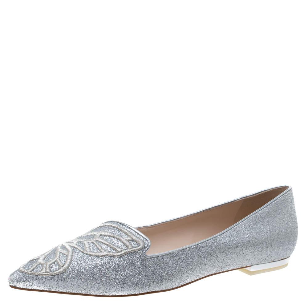 Sophia Webster Silver Glitter Bibi Butterfly Ballet Flats Size 40
