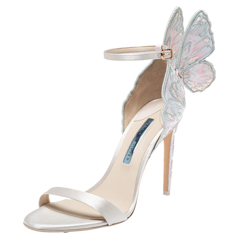 Sophia Webster Ivory White Embroidered Satin Chiara Ankle Strap Sandals Size 41