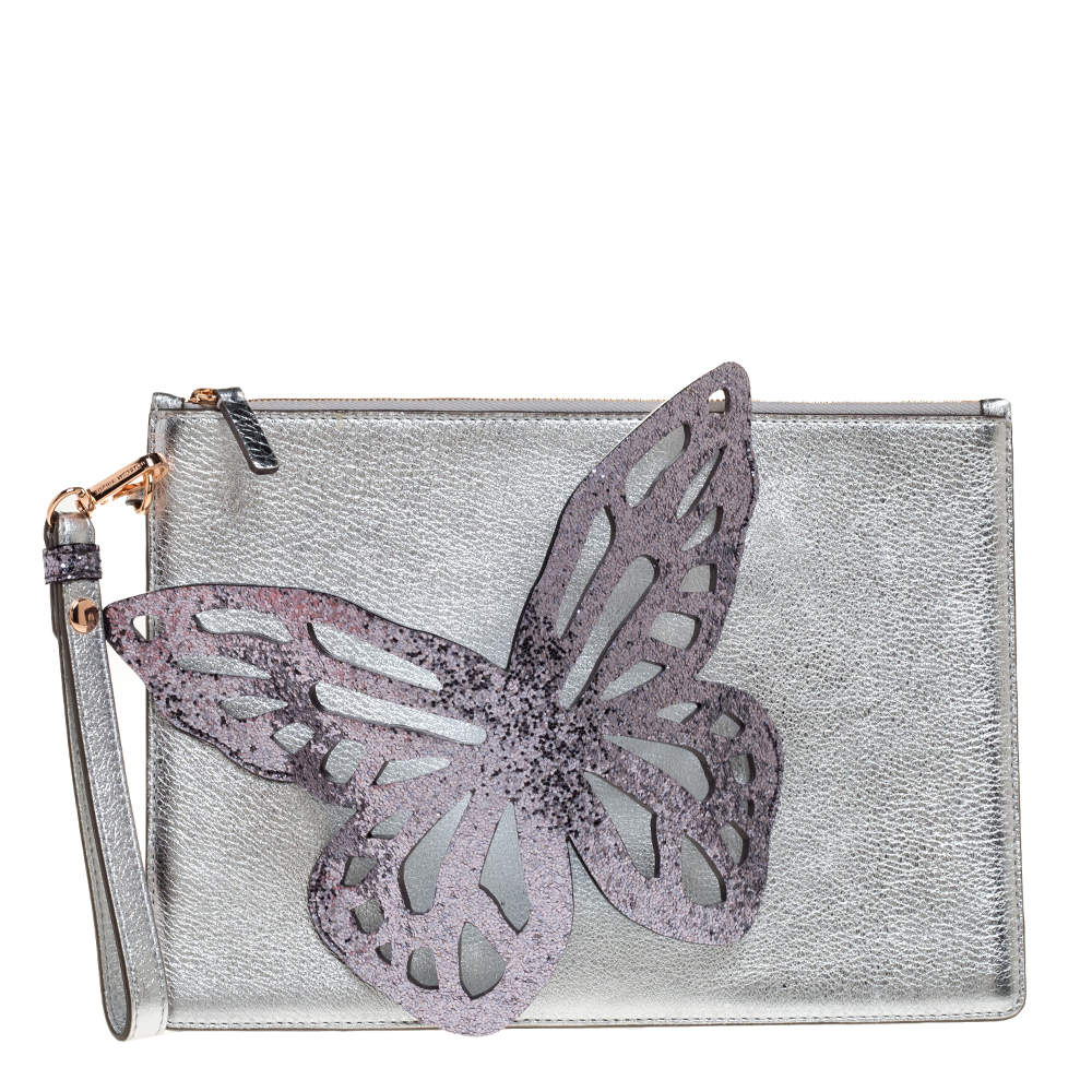 Sophia Webster Metallic Silver Leather Butterfly Wristlet Pouch