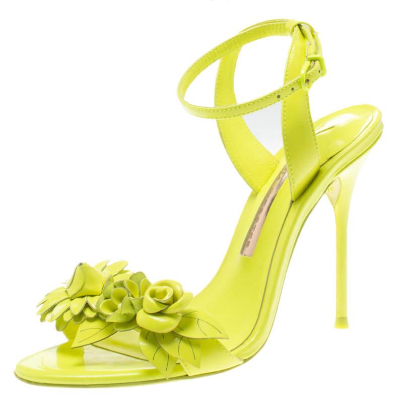 Sophia Webster Neon Green Leather Lilico Floral Embellished Ankle Wrap Sandals Size 36.5