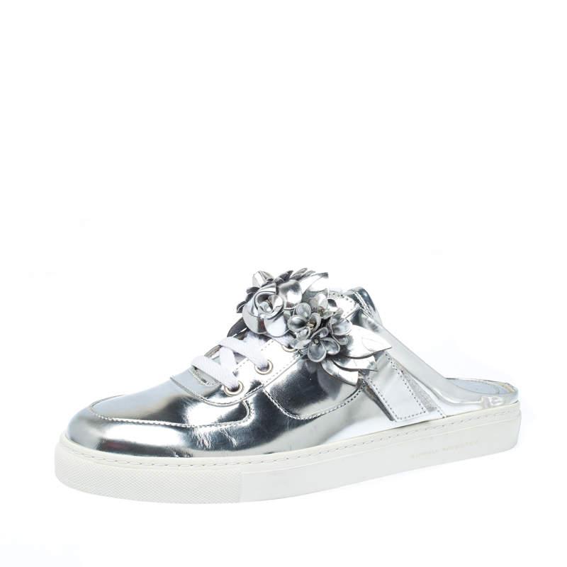 Sophia Webster Metallic Silver Foil Leather Lilico Jessie Sneaker Mules Size 39